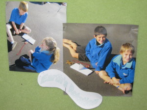 Here is Jack, Ben, Sophie and Owen monitoring the sun,using their sun dials.