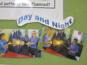 Here are Rebecca and Shamaea experimenting with day and night.